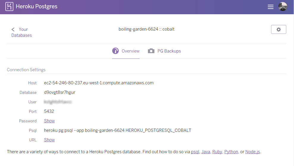 Connecting to a Heroku Postgres database
